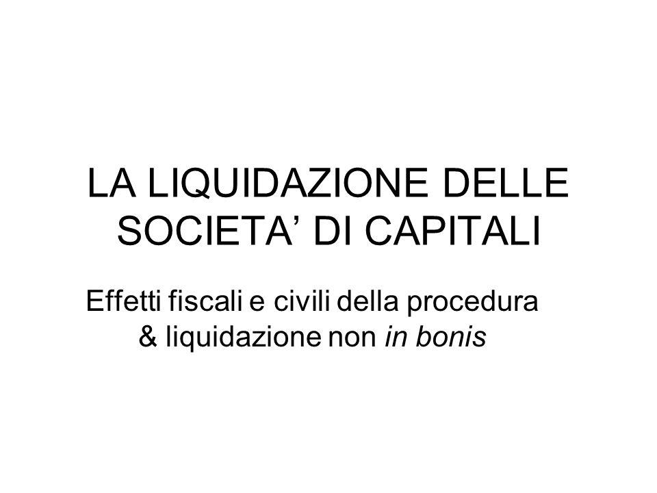 LA LIQUIDAZIONE NON IN BONIS Società di capitali posta in liquidazione con attivo incapiente.