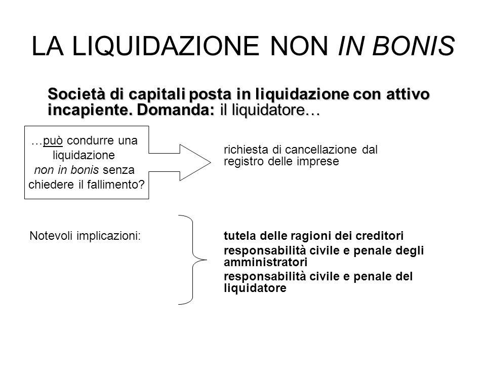 LA LIQUIDAZIONE NON IN BONIS Società di capitali posta in liquidazione con attivo incapiente. Domanda: il liquidatore… richiesta di cancellazione dal
