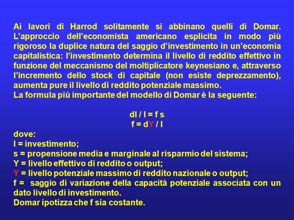 Ai lavori di Harrod solitamente si abbinano quelli di Domar. Lapproccio delleconomista americano esplicita in modo più rigoroso la duplice natura del