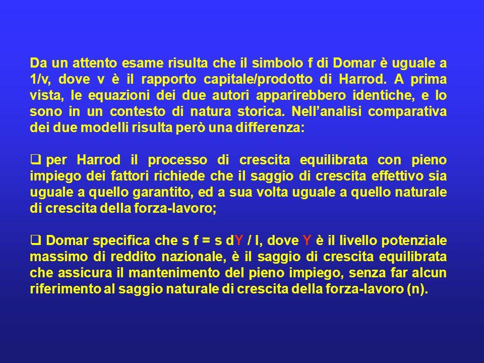 Da un attento esame risulta che il simbolo f di Domar è uguale a 1/v, dove v è il rapporto capitale/prodotto di Harrod. A prima vista, le equazioni de