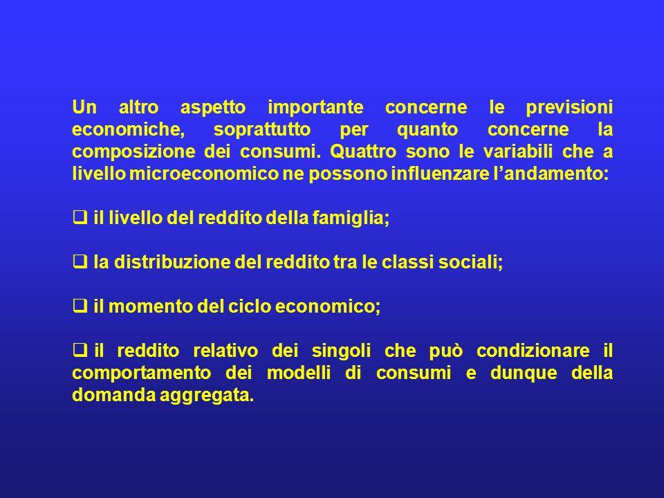 Un altro aspetto importante concerne le previsioni economiche, soprattutto per quanto concerne la composizione dei consumi. Quattro sono le variabili