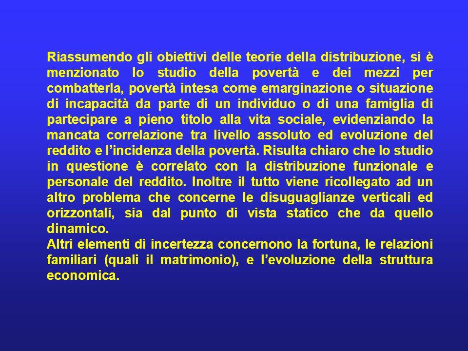 Riassumendo gli obiettivi delle teorie della distribuzione, si è menzionato lo studio della povertà e dei mezzi per combatterla, povertà intesa come e