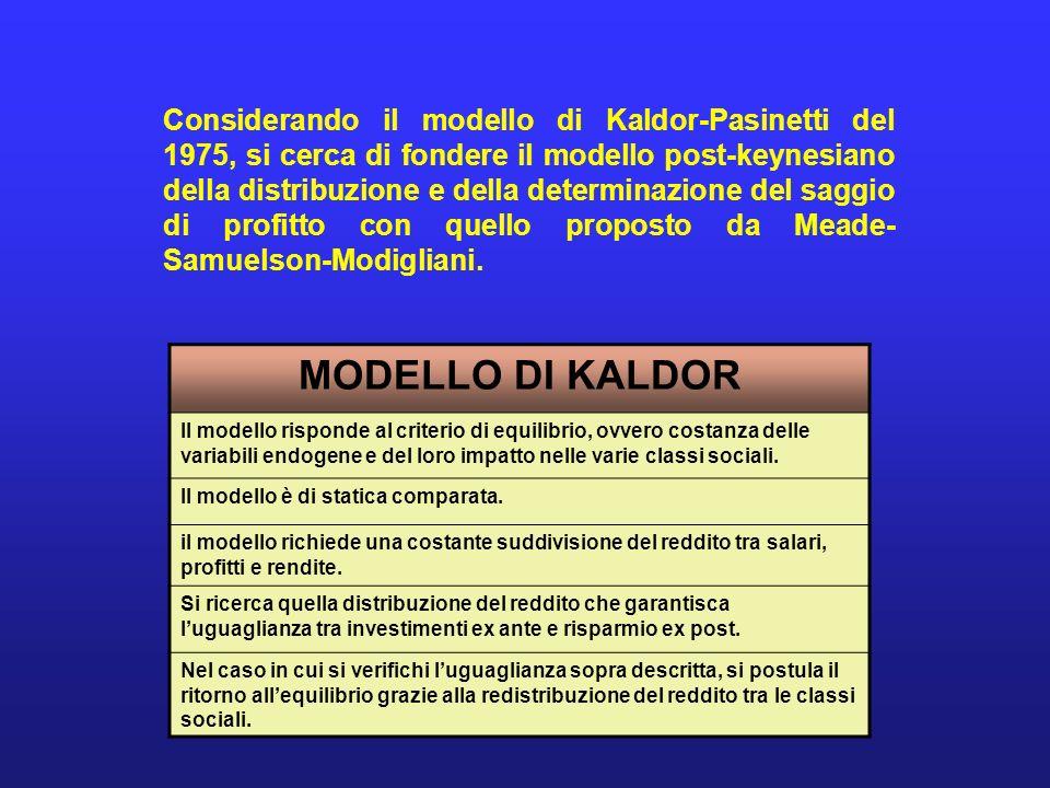MODELLO DI KALDOR Il modello risponde al criterio di equilibrio, ovvero costanza delle variabili endogene e del loro impatto nelle varie classi social