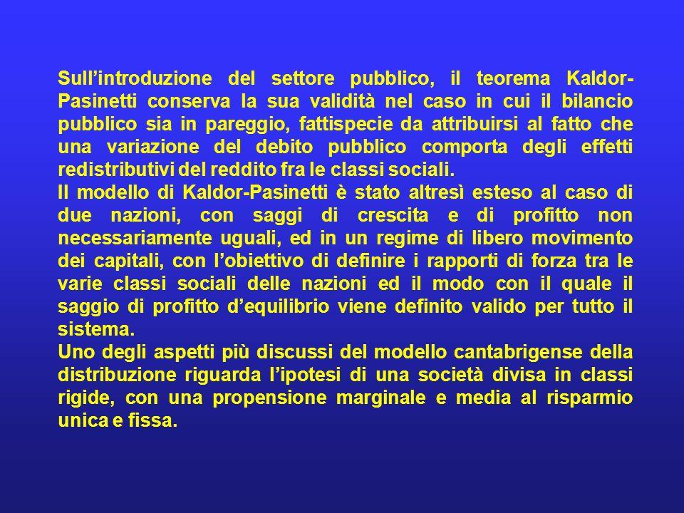Sullintroduzione del settore pubblico, il teorema Kaldor- Pasinetti conserva la sua validità nel caso in cui il bilancio pubblico sia in pareggio, fat