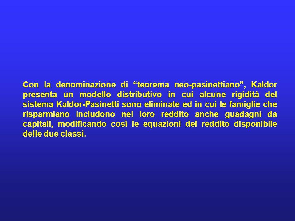 Con la denominazione di teorema neo-pasinettiano, Kaldor presenta un modello distributivo in cui alcune rigidità del sistema Kaldor-Pasinetti sono eli