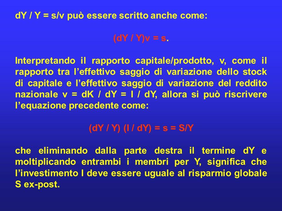 dY / Y = s/v può essere scritto anche come: (dY / Y)v = s. Interpretando il rapporto capitale/prodotto, v, come il rapporto tra leffettivo saggio di v