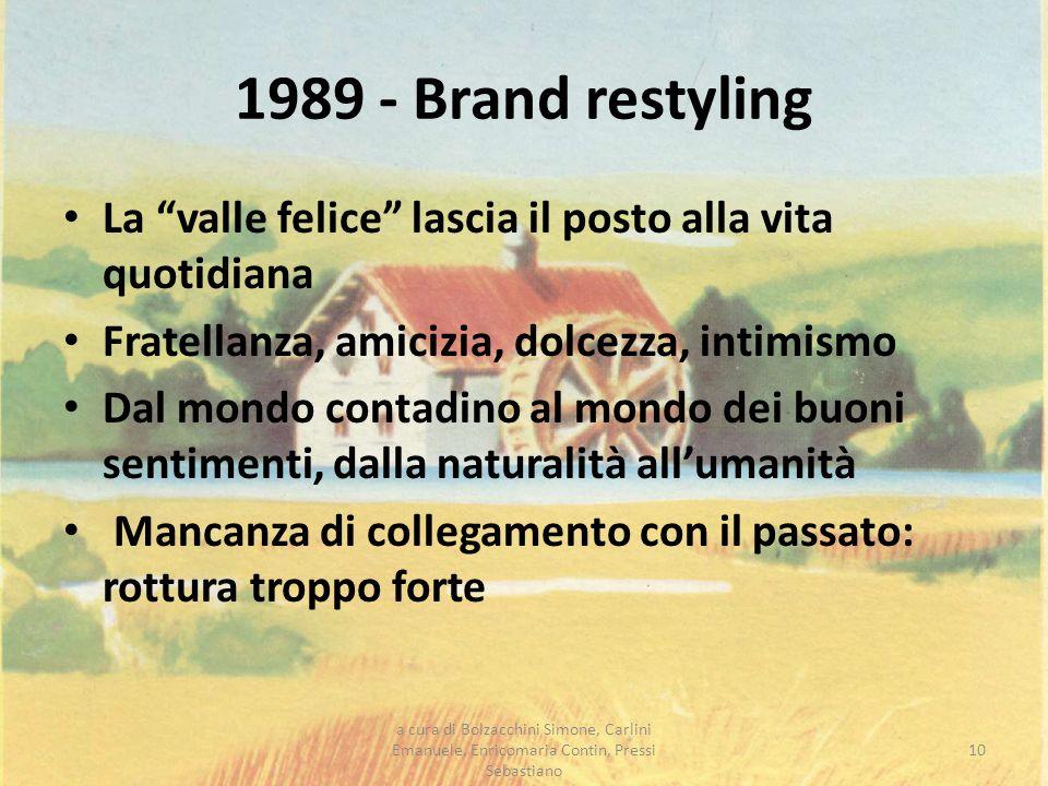 1989 - Brand restyling La valle felice lascia il posto alla vita quotidiana Fratellanza, amicizia, dolcezza, intimismo Dal mondo contadino al mondo de