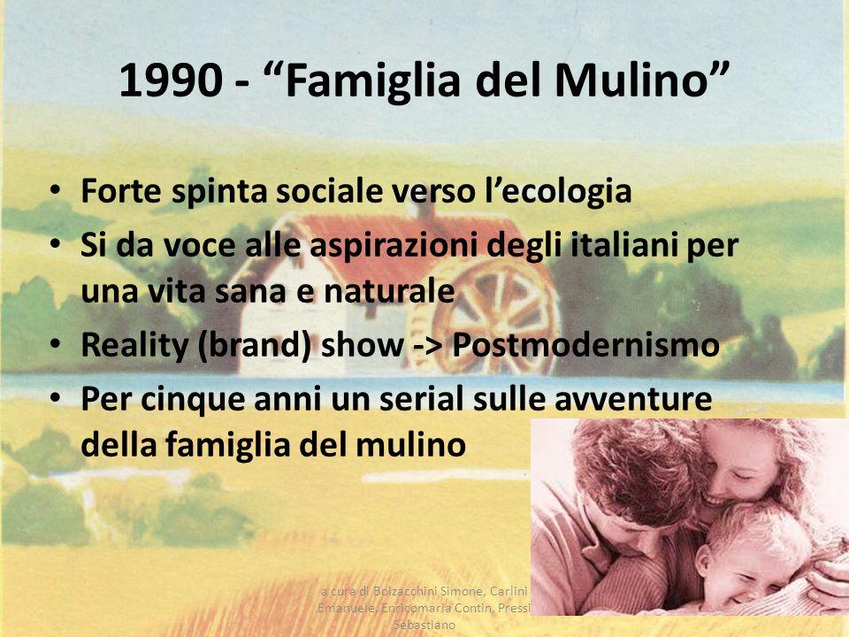 1990 - Famiglia del Mulino Forte spinta sociale verso lecologia Si da voce alle aspirazioni degli italiani per una vita sana e naturale Reality (brand