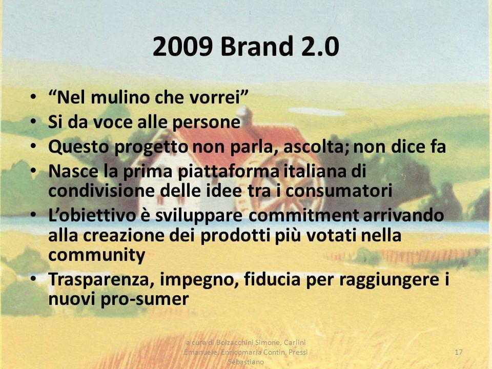 2009 Brand 2.0 Nel mulino che vorrei Si da voce alle persone Questo progetto non parla, ascolta; non dice fa Nasce la prima piattaforma italiana di co
