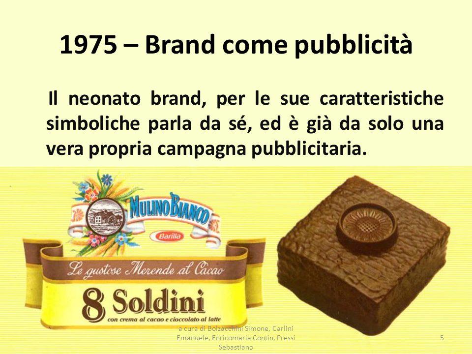 1975 – Brand come pubblicità Il neonato brand, per le sue caratteristiche simboliche parla da sé, ed è già da solo una vera propria campagna pubblicit