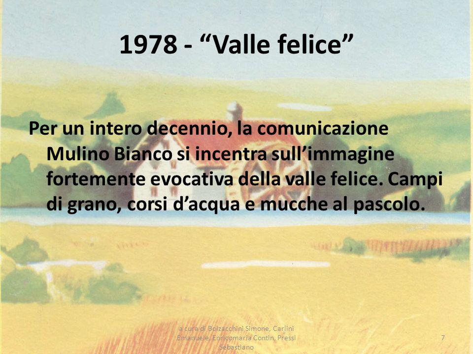 1978 - Valle felice Per un intero decennio, la comunicazione Mulino Bianco si incentra sullimmagine fortemente evocativa della valle felice. Campi di