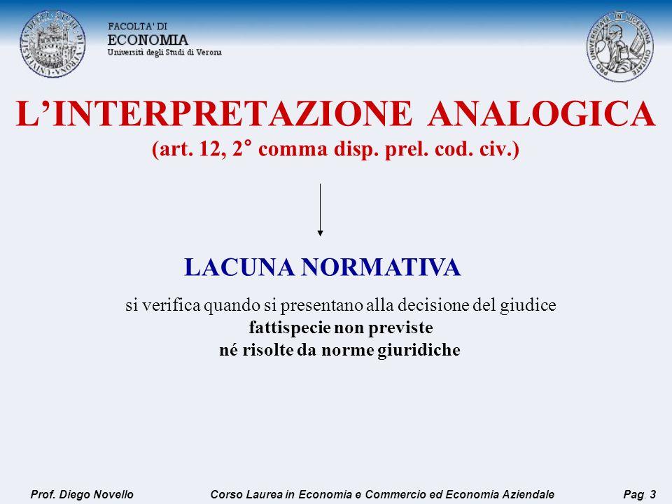 LINTERPRETAZIONE ANALOGICA (art. 12, 2° comma disp. prel. cod. civ.) LACUNA NORMATIVA si verifica quando si presentano alla decisione del giudice fatt