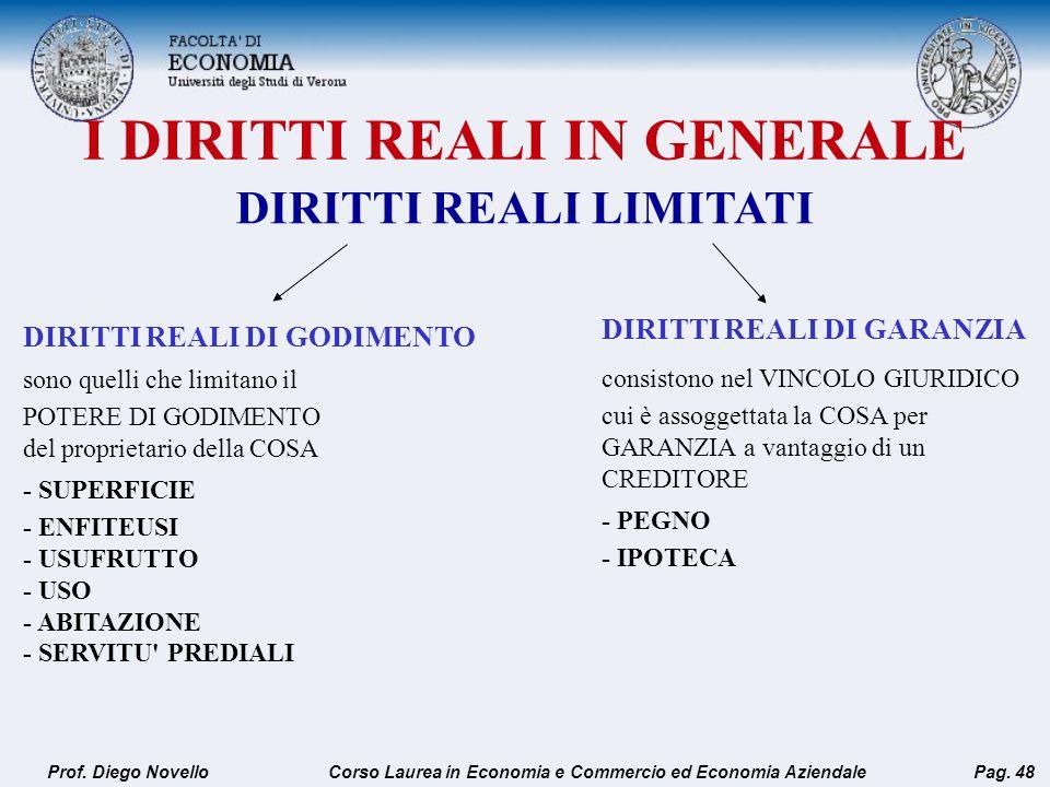 I DIRITTI REALI IN GENERALE Prof. Diego NovelloPag. 48 DIRITTI REALI DI GODIMENTO sono quelli che limitano il POTERE DI GODIMENTO del proprietario del