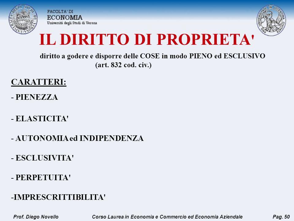 IL DIRITTO DI PROPRIETA ' Prof. Diego NovelloPag. 50 CARATTERI: - PIENEZZA - ELASTICITA' - AUTONOMIA ed INDIPENDENZA - ESCLUSIVITA' - PERPETUITA' -IMP