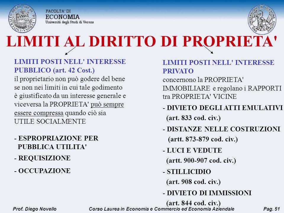 LIMITI AL DIRITTO DI PROPRIETA' Prof. Diego NovelloPag. 51 LIMITI POSTI NELL' INTERESSE PUBBLICO (art. 42 Cost.) il proprietario non può godere del be