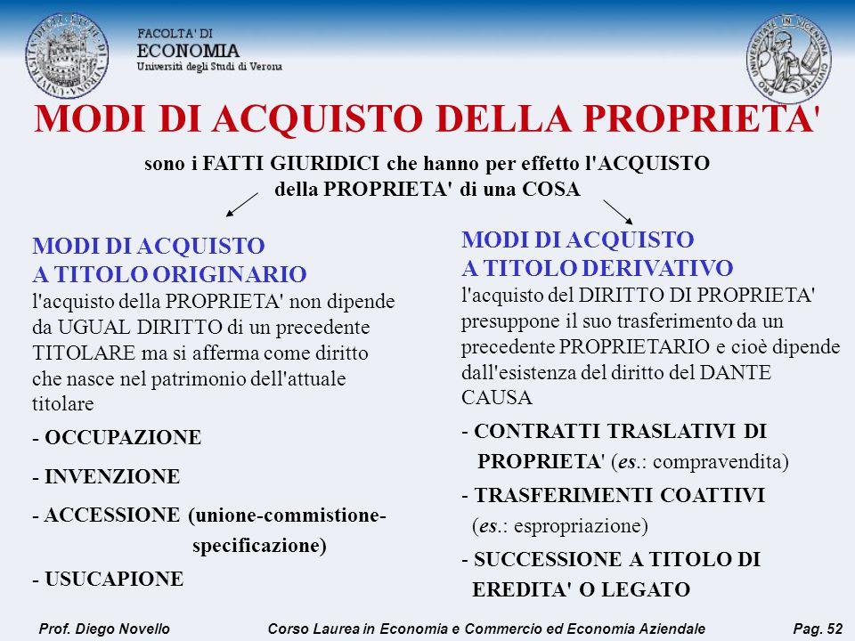 MODI DI ACQUISTO DELLA PROPRIETA ' Prof. Diego NovelloPag. 52 MODI DI ACQUISTO A TITOLO ORIGINARIO l'acquisto della PROPRIETA' non dipende da UGUAL DI