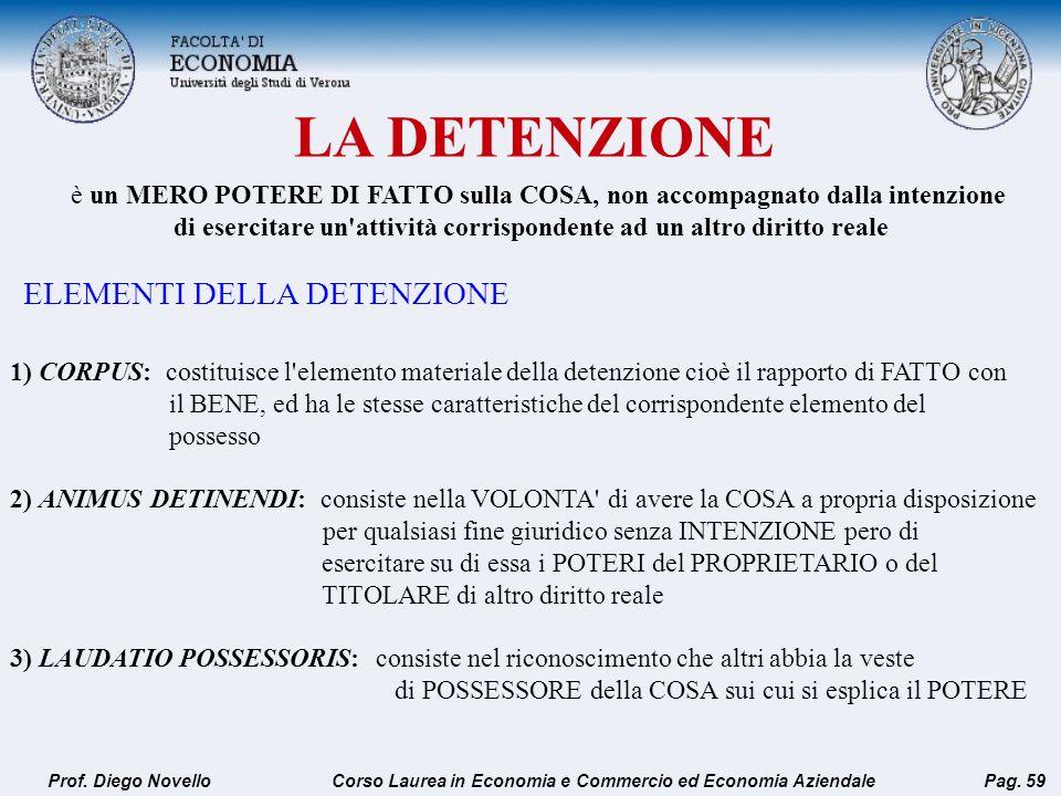 LA DETENZIONE Prof. Diego NovelloPag. 59 1) CORPUS: costituisce l'elemento materiale della detenzione cioè il rapporto di FATTO con il BENE, ed ha le