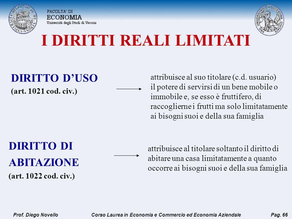 I DIRITTI REALI LIMITATI Prof. Diego NovelloPag. 66 DIRITTO DUSO (art. 1021 cod. civ.) attribuisce al suo titolare (c.d. usuario) il potere di servirs
