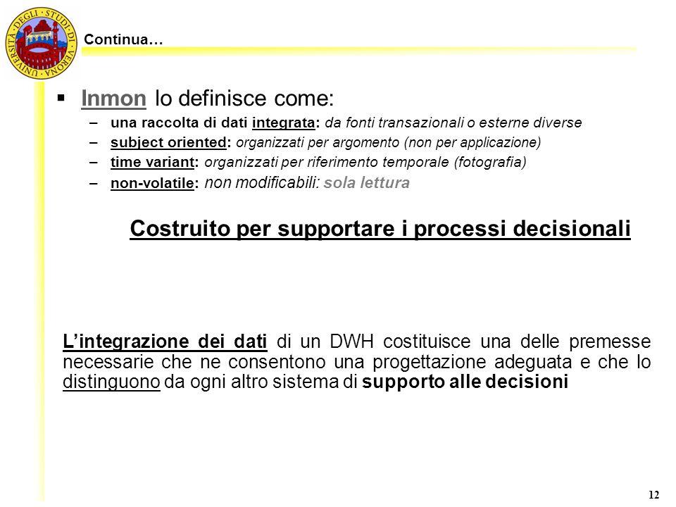 12 Inmon lo definisce come: –una raccolta di dati integrata: da fonti transazionali o esterne diverse –subject oriented: organizzati per argomento (no