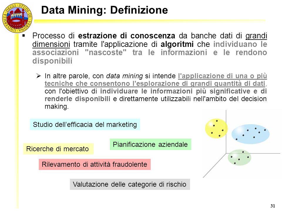 31 Data Mining: Definizione Processo di estrazione di conoscenza da banche dati di grandi dimensioni tramite l'applicazione di algoritmi che individua