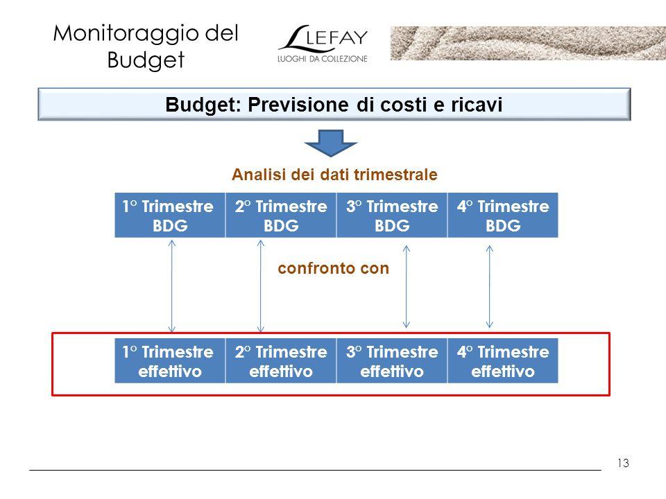 13 Monitoraggio del Budget Budget: Previsione di costi e ricavi 1° Trimestre BDG 2° Trimestre BDG 3° Trimestre BDG 4° Trimestre BDG Analisi dei dati t