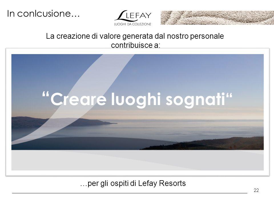 22 In conlcusione… Creare luoghi sognati La creazione di valore generata dal nostro personale contribuisce a: …per gli ospiti di Lefay Resorts