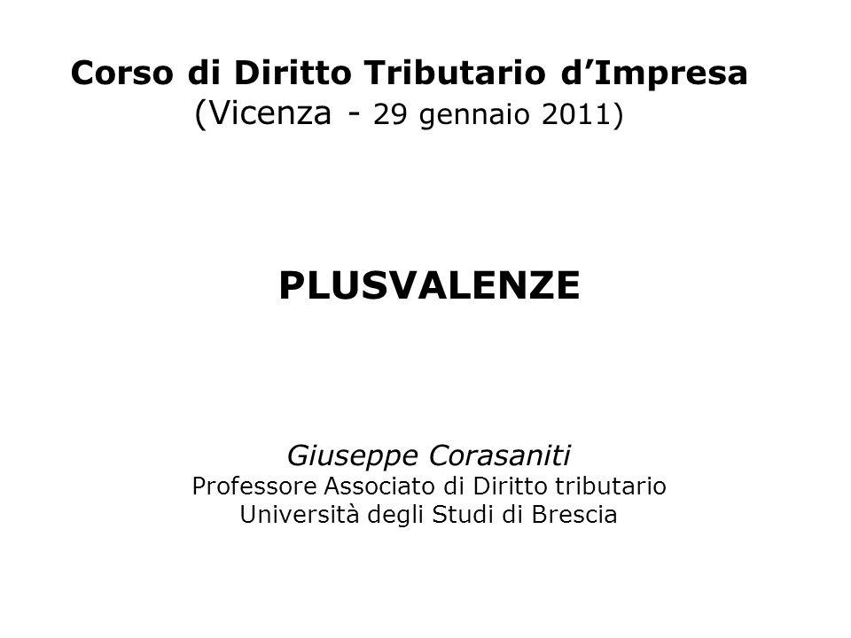 Corso di Diritto Tributario dImpresa (Vicenza - 29 gennaio 2011) PLUSVALENZE Giuseppe Corasaniti Professore Associato di Diritto tributario Università