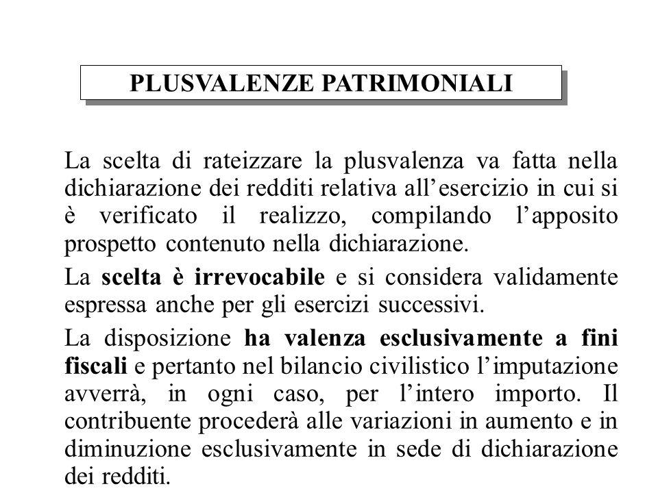 La scelta di rateizzare la plusvalenza va fatta nella dichiarazione dei redditi relativa allesercizio in cui si è verificato il realizzo, compilando lapposito prospetto contenuto nella dichiarazione.