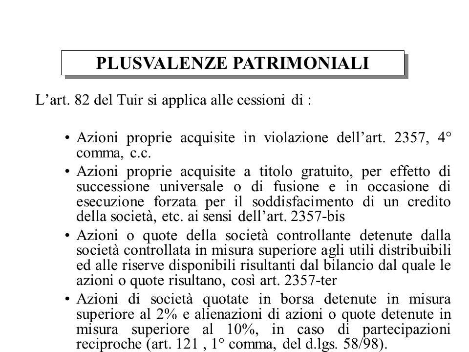 Lart. 82 del Tuir si applica alle cessioni di : Azioni proprie acquisite in violazione dellart. 2357, 4° comma, c.c. Azioni proprie acquisite a titolo