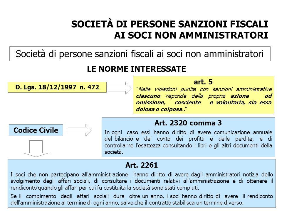 Società di persone sanzioni fiscali ai soci non amministratori LE NORME INTERESSATE D. Lgs. 18/12/1997 n. 472 art. 5 Nelle violazioni punite con sanzi