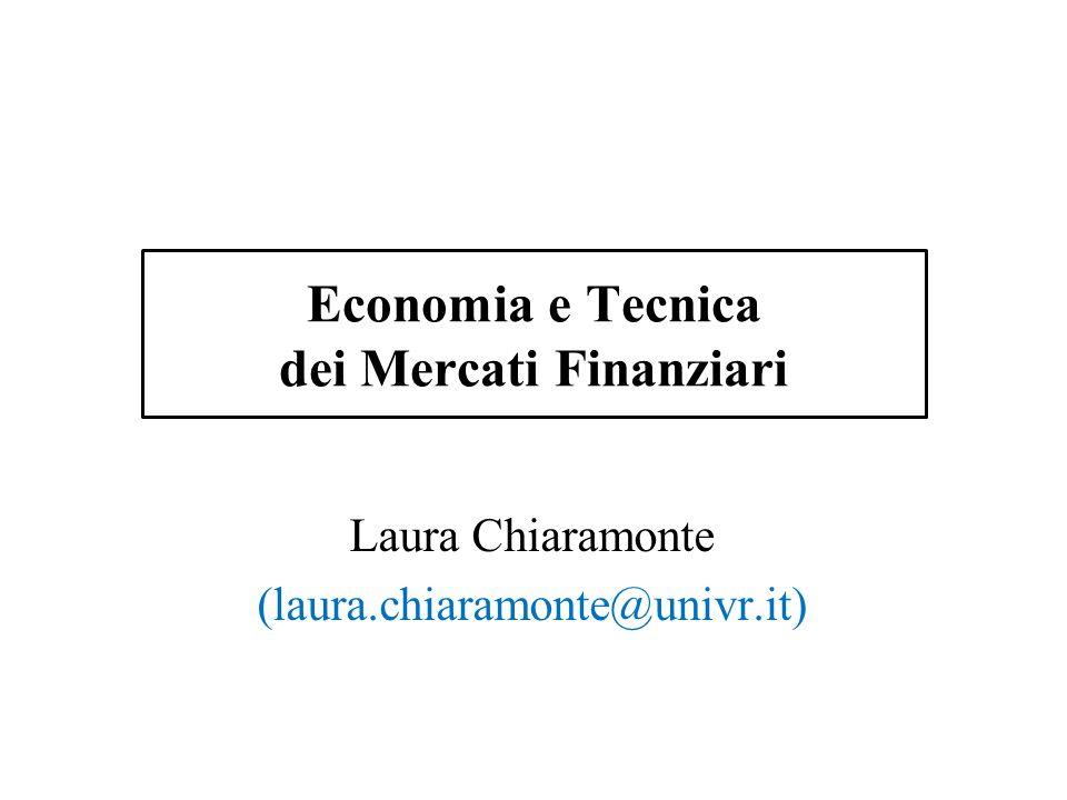 Economia e Tecnica dei Mercati Finanziari Laura Chiaramonte (laura.chiaramonte@univr.it)
