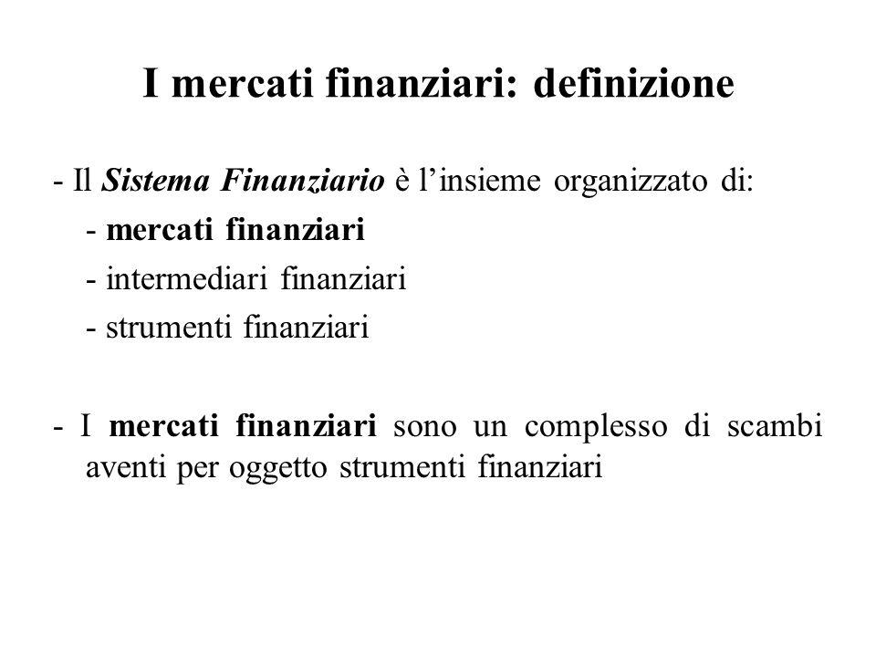I mercati finanziari: definizione - Il Sistema Finanziario è linsieme organizzato di: - mercati finanziari - intermediari finanziari - strumenti finan
