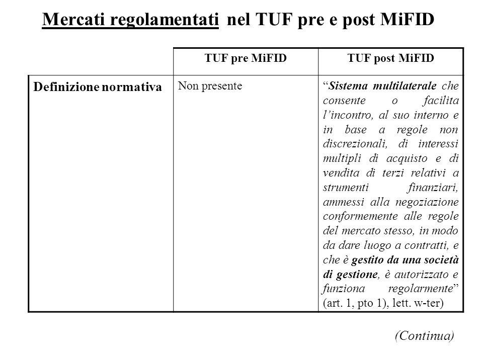 Mercati regolamentati nel TUF pre e post MiFID TUF pre MiFIDTUF post MiFID Definizione normativa Non presenteSistema multilaterale che consente o faci