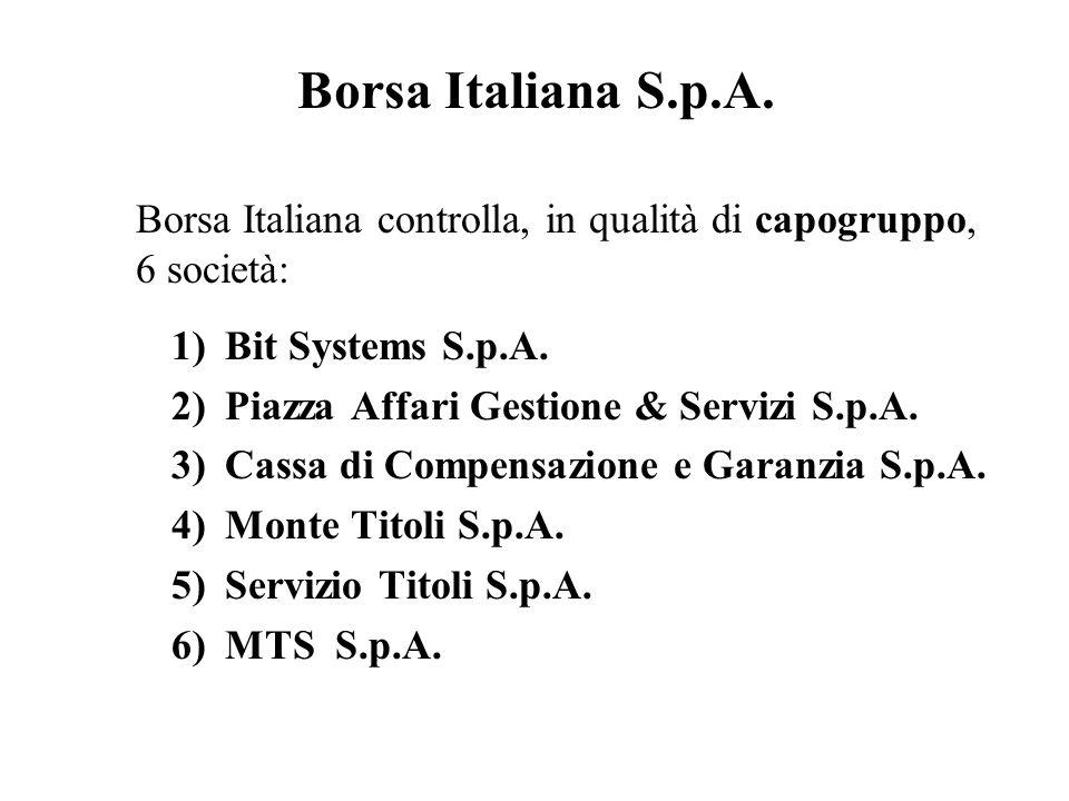 Borsa Italiana S.p.A. Borsa Italiana controlla, in qualità di capogruppo, 6 società: 1)Bit Systems S.p.A. 2)Piazza Affari Gestione & Servizi S.p.A. 3)