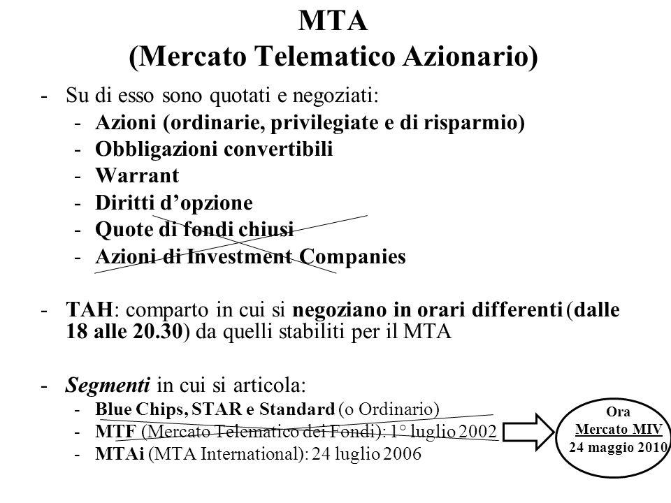 MTA (Mercato Telematico Azionario) -Su di esso sono quotati e negoziati: -Azioni (ordinarie, privilegiate e di risparmio) -Obbligazioni convertibili -