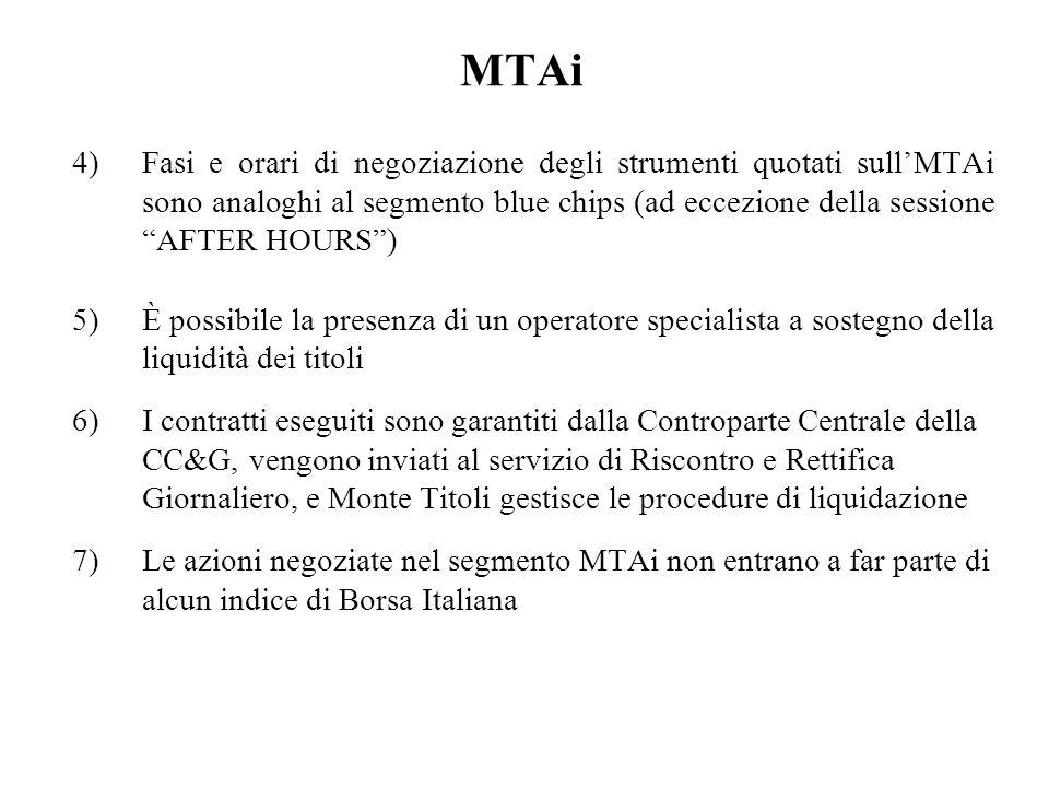MTAi 4)Fasi e orari di negoziazione degli strumenti quotati sullMTAi sono analoghi al segmento blue chips (ad eccezione della sessione AFTER HOURS) 5)