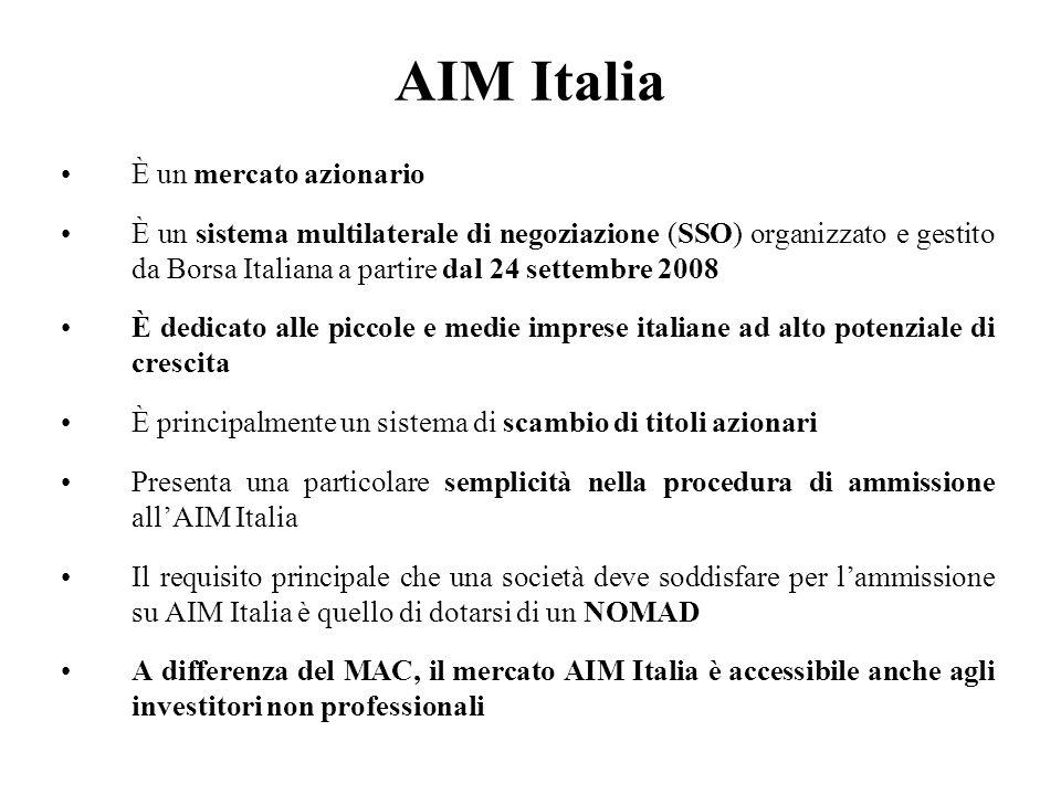AIM Italia È un mercato azionario È un sistema multilaterale di negoziazione (SSO) organizzato e gestito da Borsa Italiana a partire dal 24 settembre