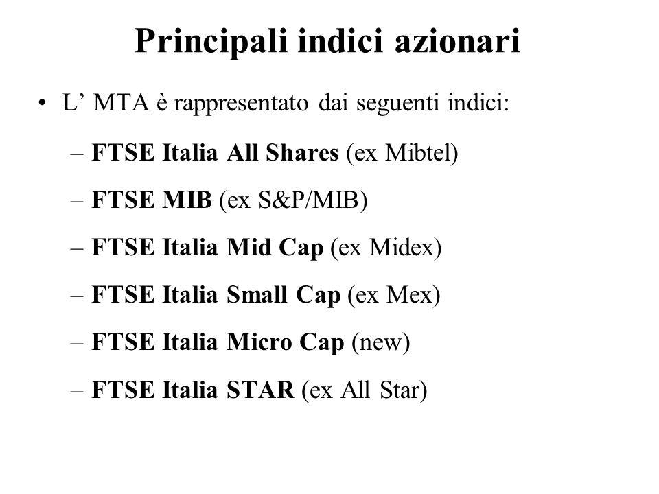 Principali indici azionari L MTA è rappresentato dai seguenti indici: –FTSE Italia All Shares (ex Mibtel) –FTSE MIB (ex S&P/MIB) –FTSE Italia Mid Cap