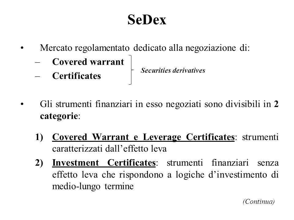SeDex Mercato regolamentato dedicato alla negoziazione di: –Covered warrant –Certificates Gli strumenti finanziari in esso negoziati sono divisibili i