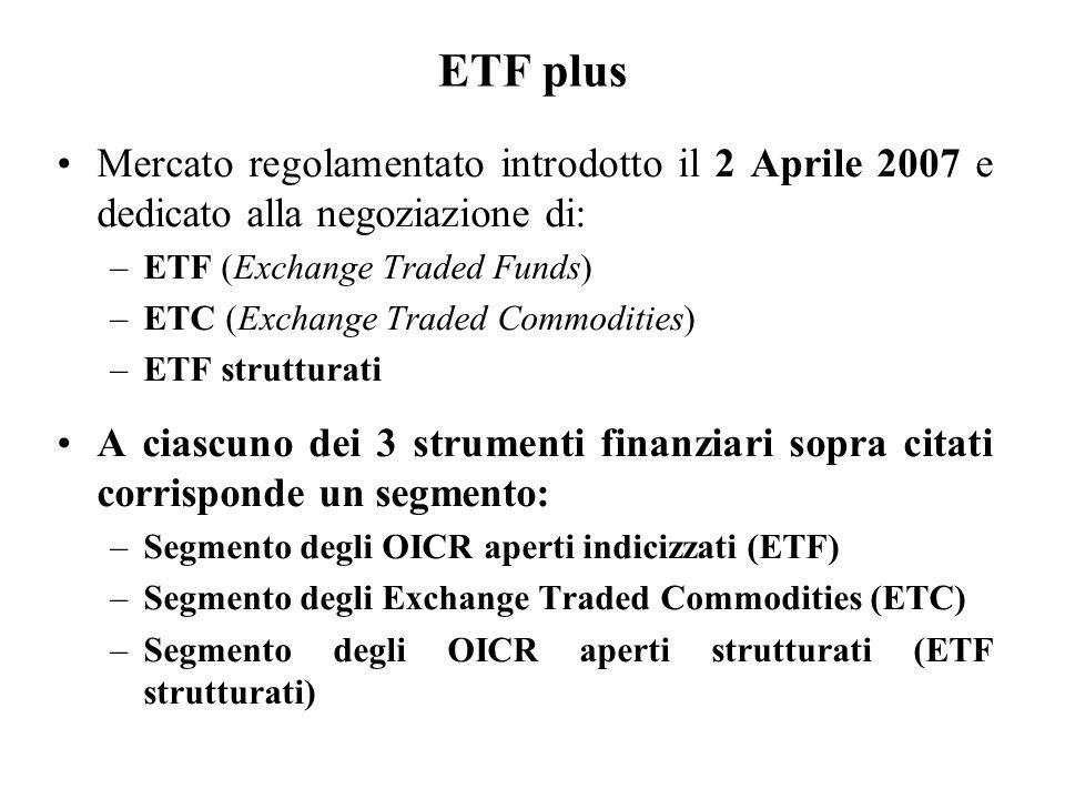 ETF plus Mercato regolamentato introdotto il 2 Aprile 2007 e dedicato alla negoziazione di: –ETF (Exchange Traded Funds) –ETC (Exchange Traded Commodi