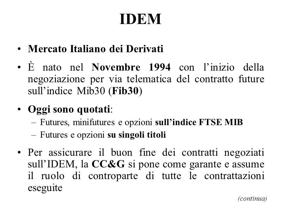 IDEM Mercato Italiano dei Derivati È nato nel Novembre 1994 con linizio della negoziazione per via telematica del contratto future sullindice Mib30 (F