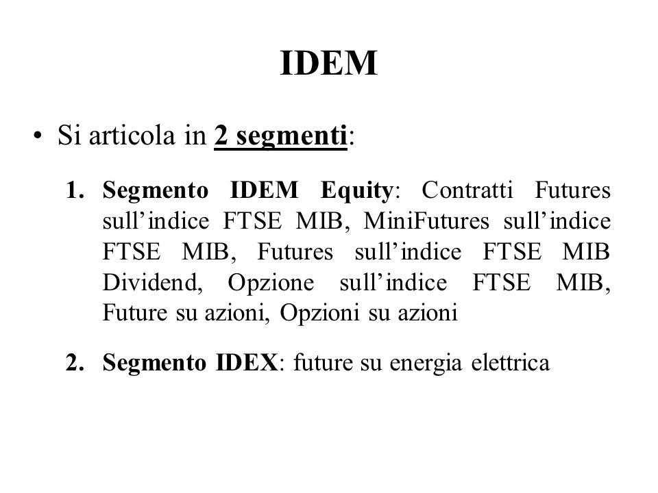 IDEM Si articola in 2 segmenti: 1.Segmento IDEM Equity: Contratti Futures sullindice FTSE MIB, MiniFutures sullindice FTSE MIB, Futures sullindice FTS