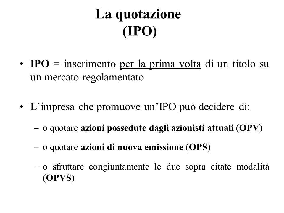La quotazione (IPO) IPO = inserimento per la prima volta di un titolo su un mercato regolamentato Limpresa che promuove unIPO può decidere di: –o quot