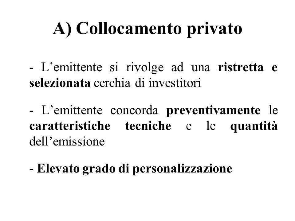 A) Collocamento privato - Lemittente si rivolge ad una ristretta e selezionata cerchia di investitori - Lemittente concorda preventivamente le caratte