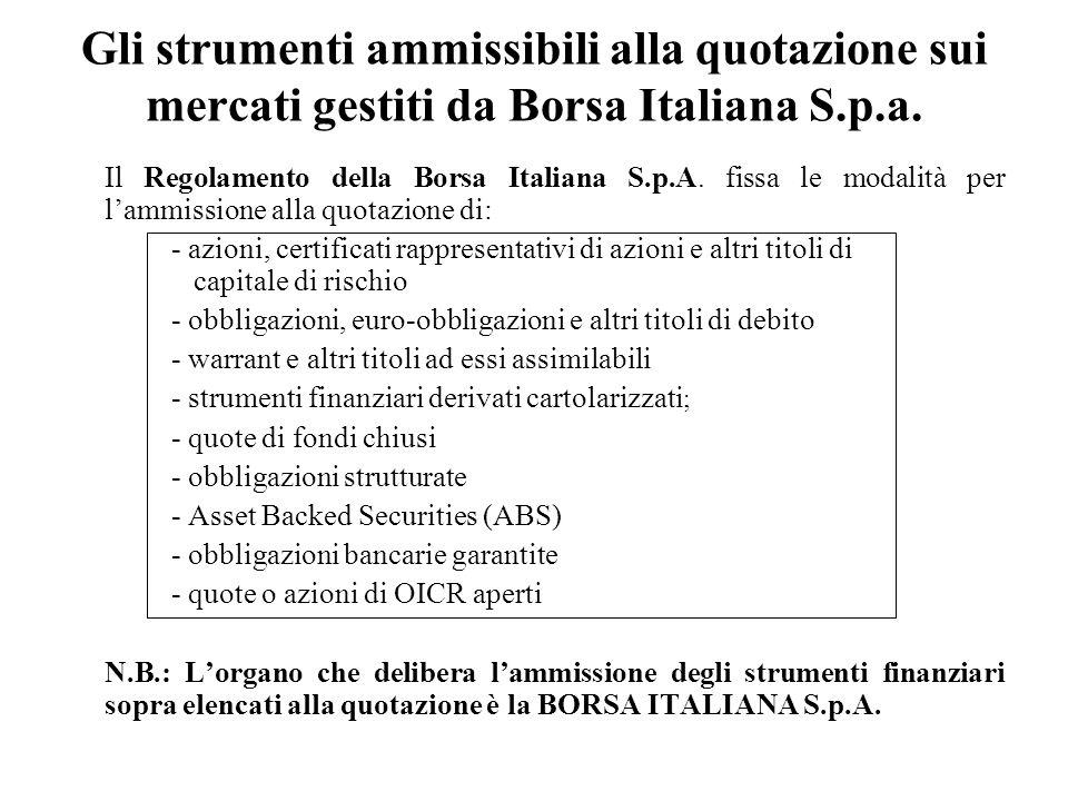 Gli strumenti ammissibili alla quotazione sui mercati gestiti da Borsa Italiana S.p.a. Il Regolamento della Borsa Italiana S.p.A. fissa le modalità pe