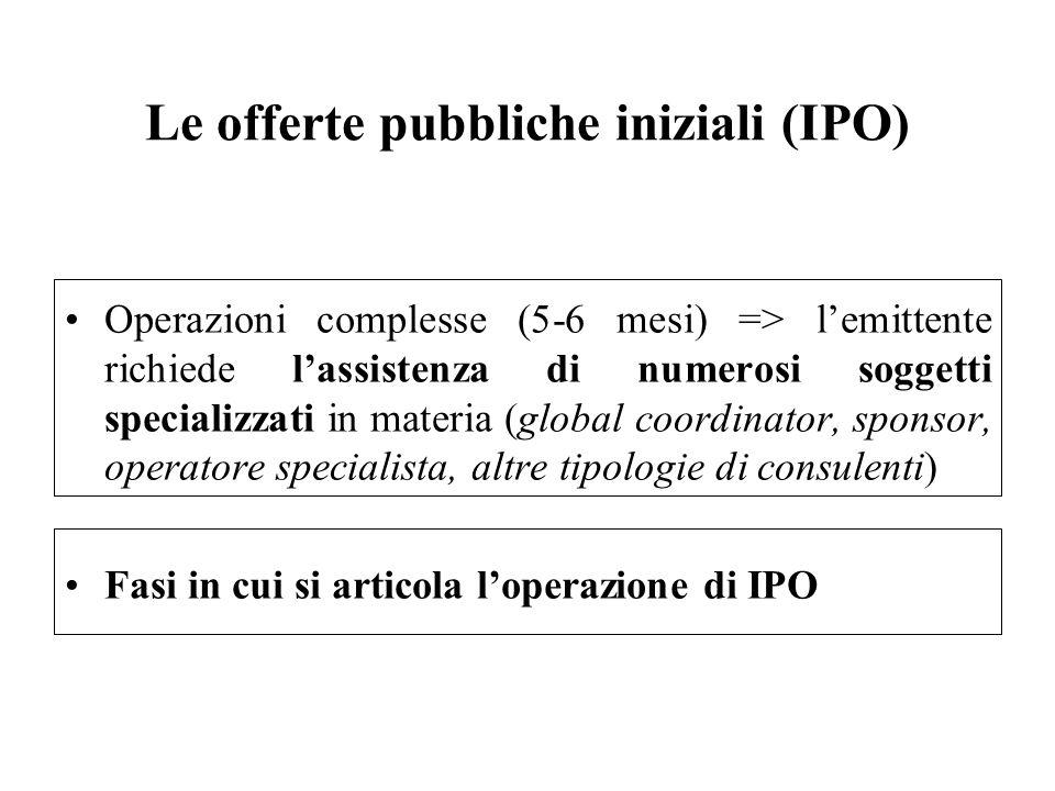 Le offerte pubbliche iniziali (IPO) Operazioni complesse (5-6 mesi) => lemittente richiede lassistenza di numerosi soggetti specializzati in materia (
