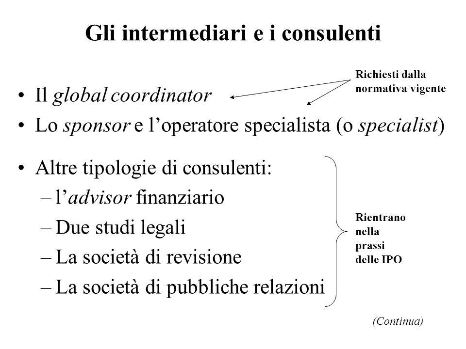 Gli intermediari e i consulenti Il global coordinator Lo sponsor e loperatore specialista (o specialist) Altre tipologie di consulenti: –ladvisor fina