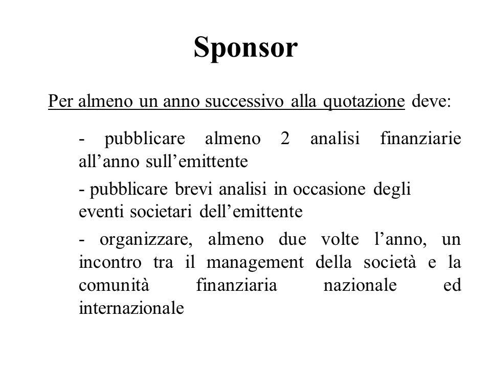 Sponsor Per almeno un anno successivo alla quotazione deve: - pubblicare almeno 2 analisi finanziarie allanno sullemittente - pubblicare brevi analisi