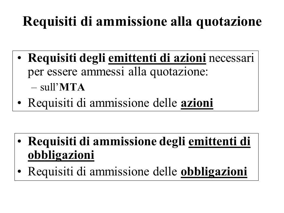 Requisiti di ammissione alla quotazione Requisiti degli emittenti di azioni necessari per essere ammessi alla quotazione: –sullMTA Requisiti di ammiss