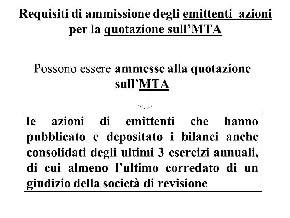 Requisiti di ammissione degli emittenti azioni per la quotazione sullMTA Possono essere ammesse alla quotazione sullMTA le azioni di emittenti che han